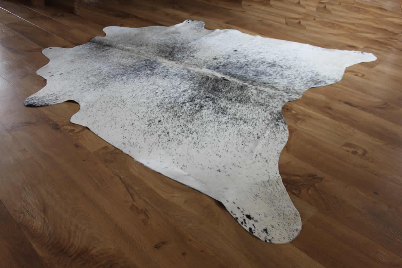 Dark Grey Speckled and White Cowhide Rug