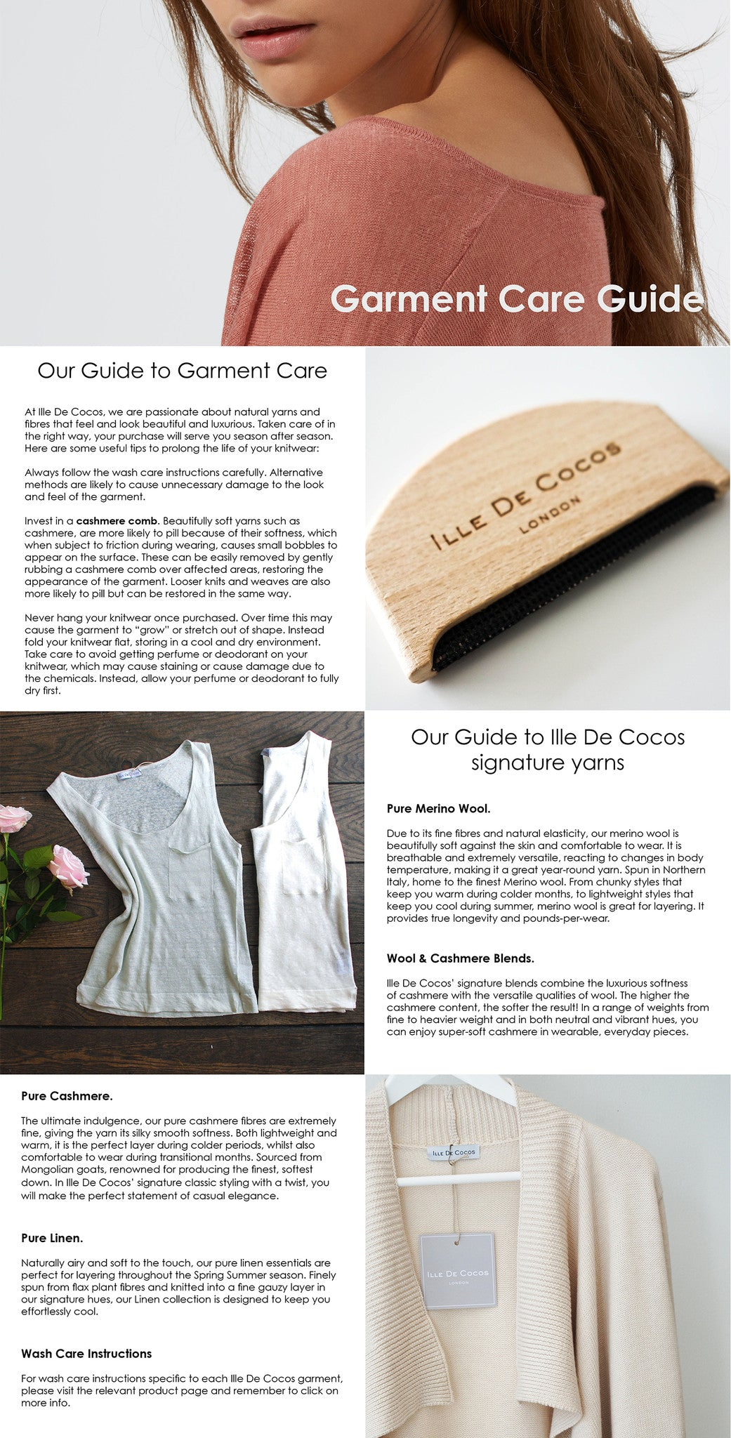Ille De Cocos Garment Care Guide