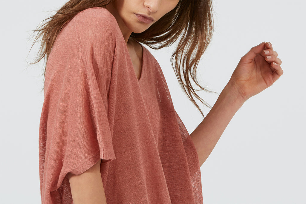 Ille De Cocos Linen oversized Sweater Sunset Pink