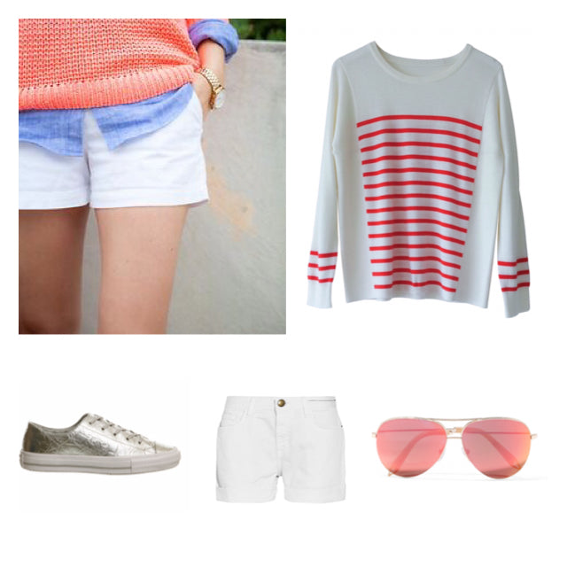Stripe Sweater x Shorts outfit Inso