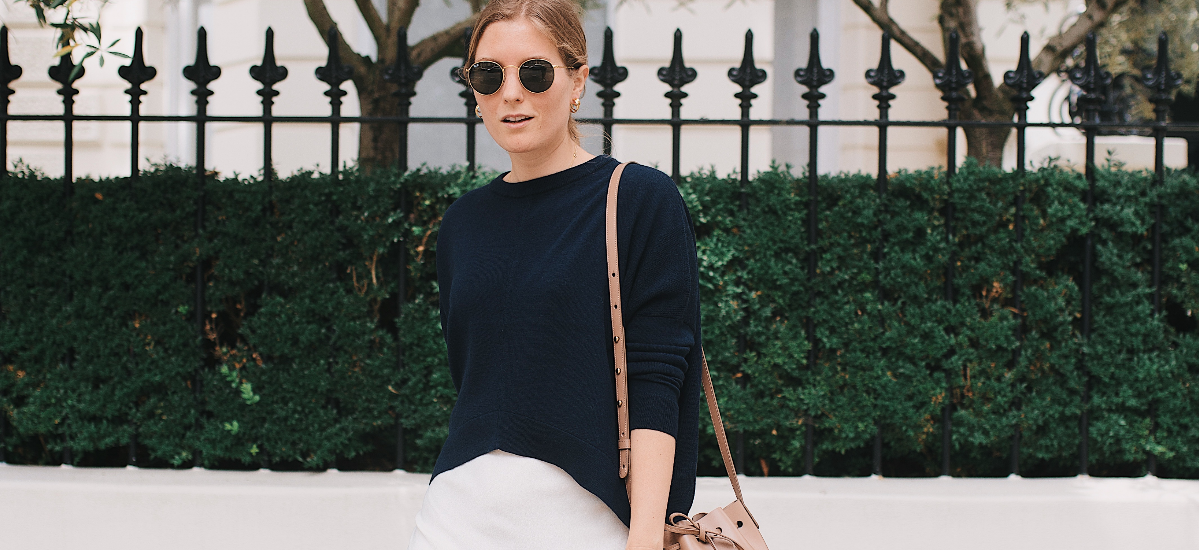 Merino Cropped Sweater in Navy