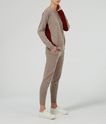 Rib Insert Colour Block Sweater - Bronze Marl/ Chilli