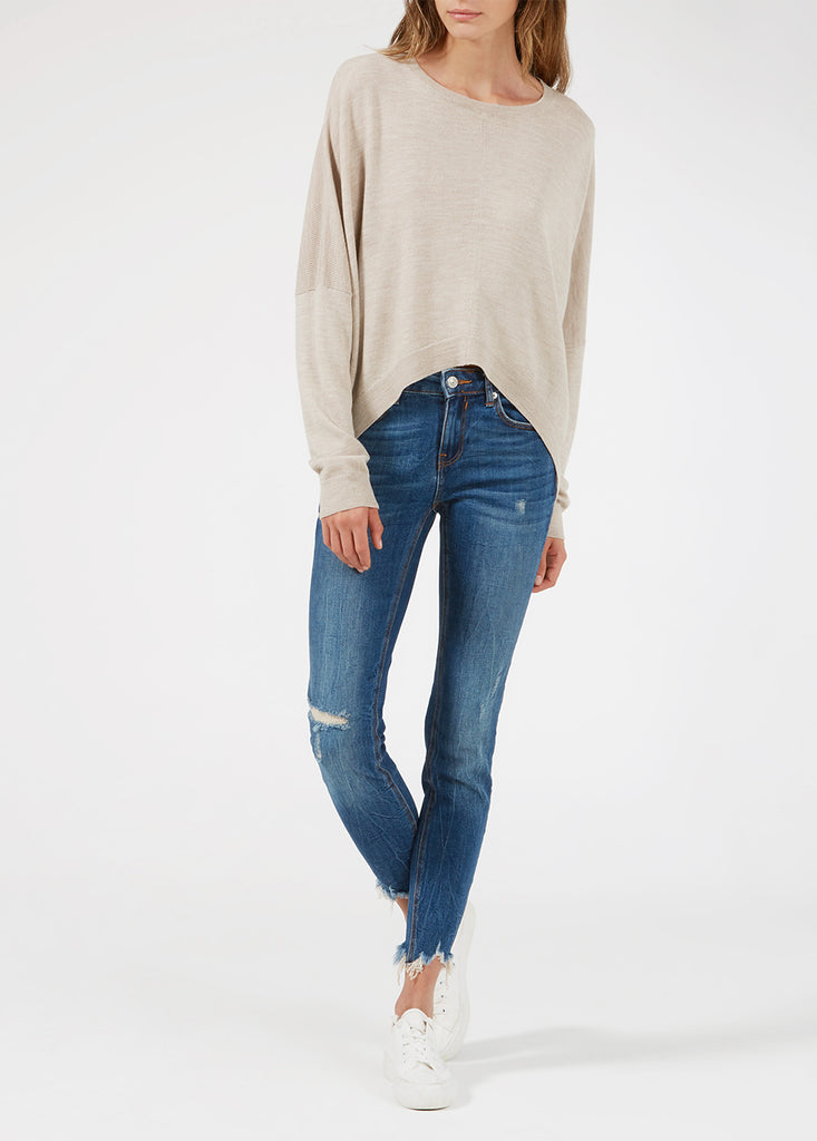 Merino Cropped Sweater - Fawn/ Gold