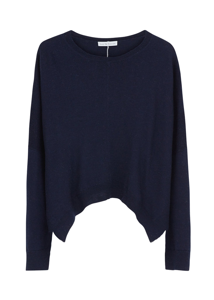 Merino Cropped Sweater - Navy/ Light Grey
