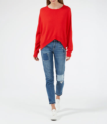 Merino Cropped Sweater - Tomato Red/ Light Grey