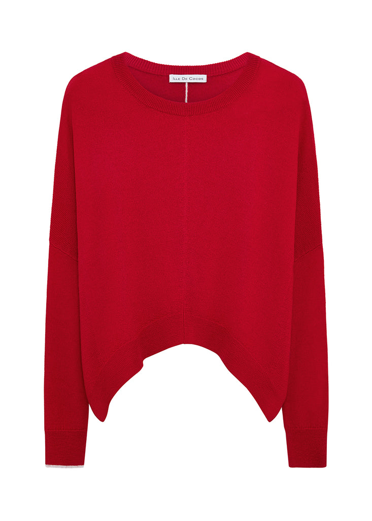 Merino Cropped Sweater - Cherry Red/ Pebble Grey
