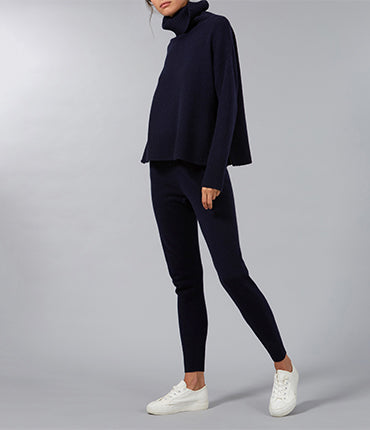 Side Zip Roll Neck Sweater - Navy