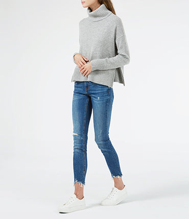 Side Zip Roll Neck Sweater - Grey Marl
