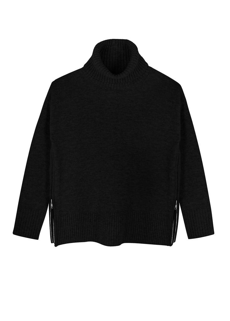 Side Zip Roll Neck Sweater - Black