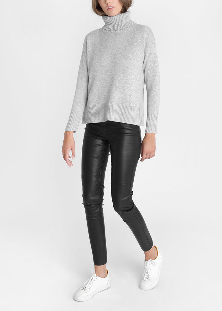 Side Zip Roll Neck Sweater - Silver Grey Marl