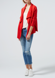 Rib Detail Cardigan - Poppy
