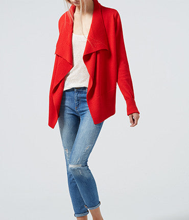 Rib Detail Cardigan - Fire Red