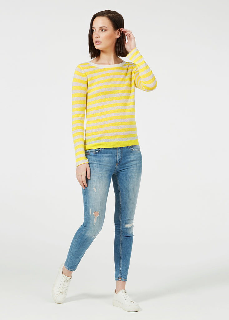 Linen Gauze Stripe Sweater - Canary/ White