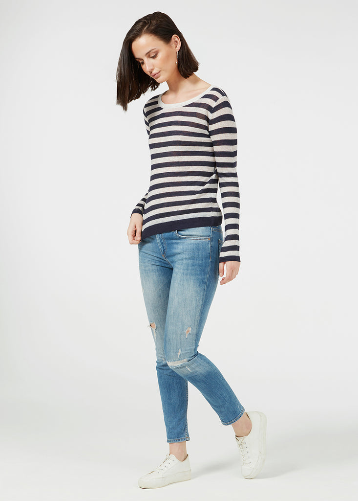 Linen Gauze Stripe Sweater - Navy/ White