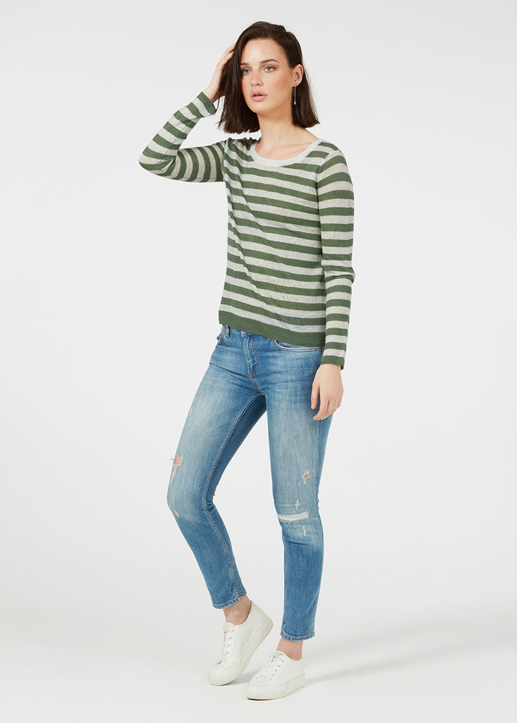 Linen Gauze Stripe Sweater - Sage/ White