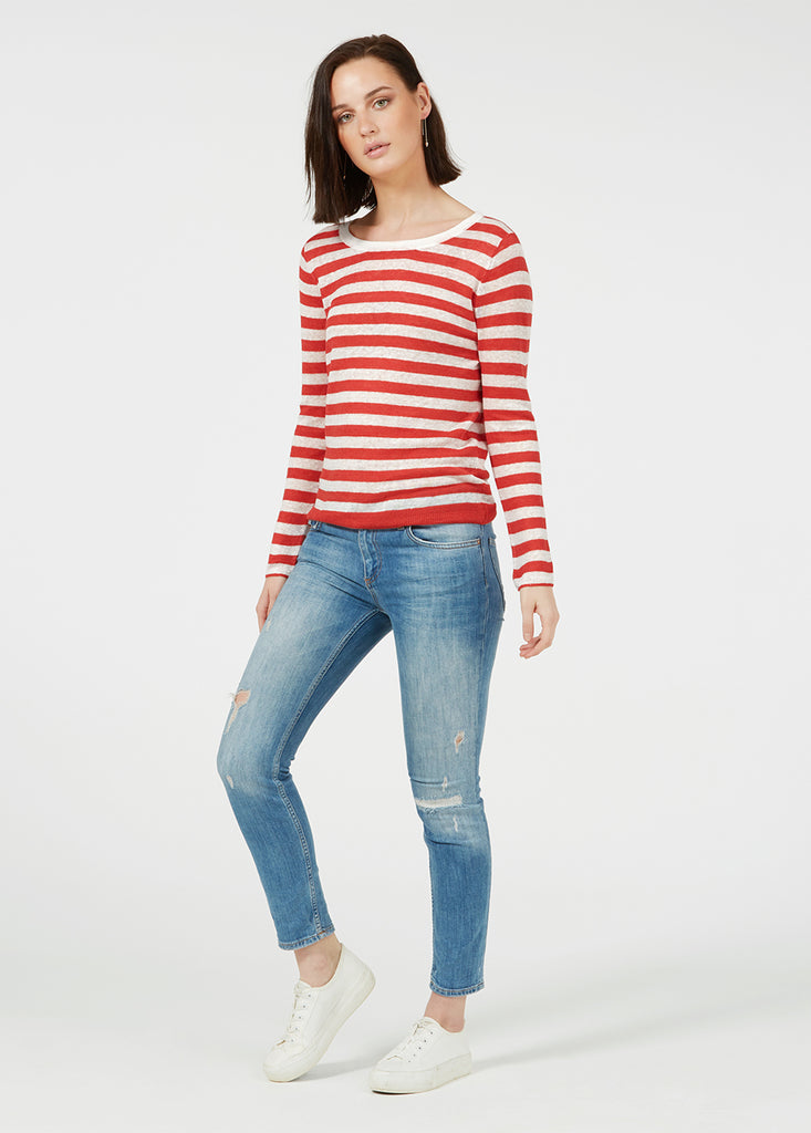 Linen Gauze Stripe Sweater - Vintage Red/ White