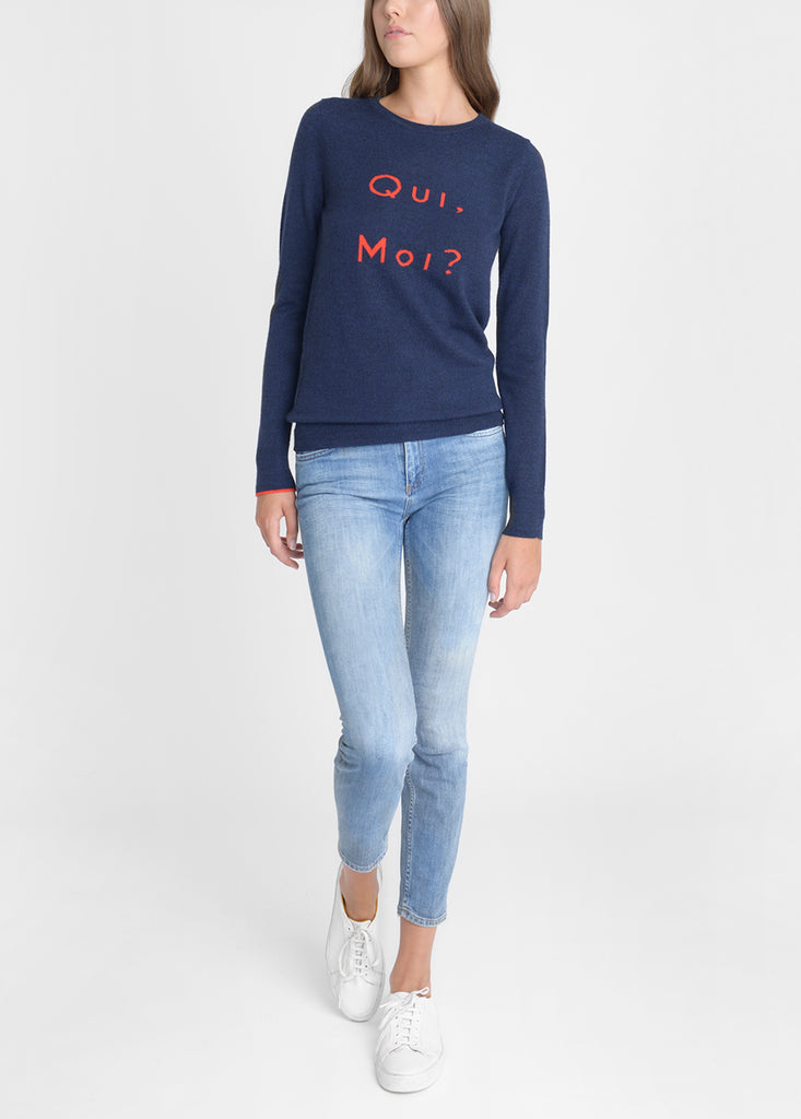 Qui Moi Merino Sweater - Navy Marl/ Red