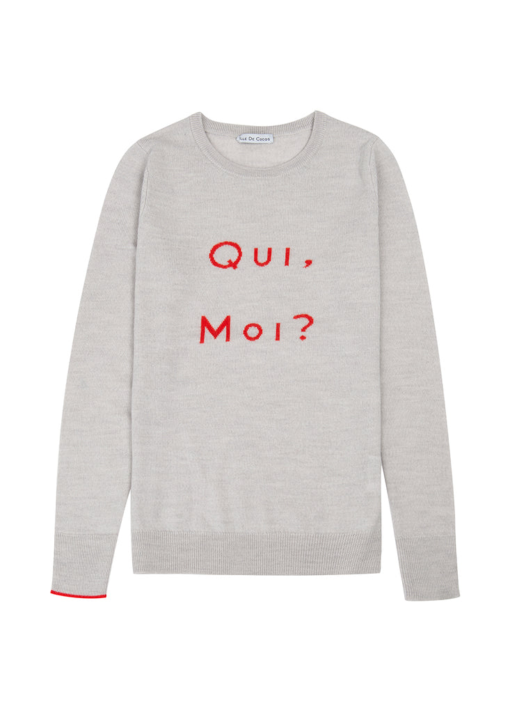 Qui Moi Merino Sweater - Pebble Grey/ Red