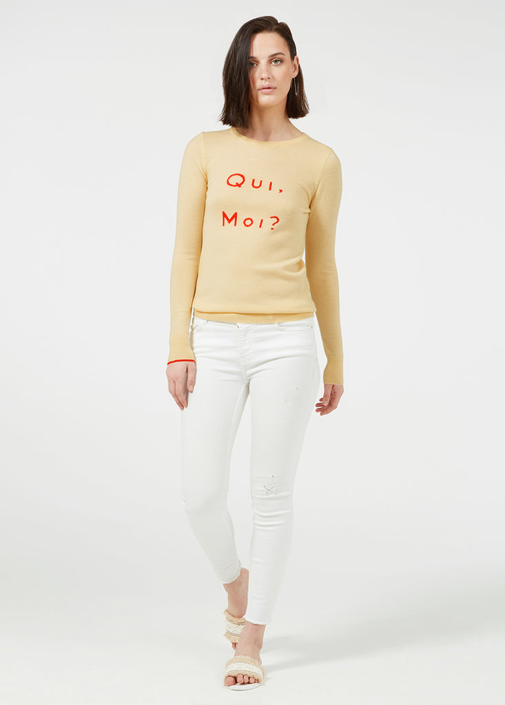 Qui Moi Merino Sweater - Lemon/ Red