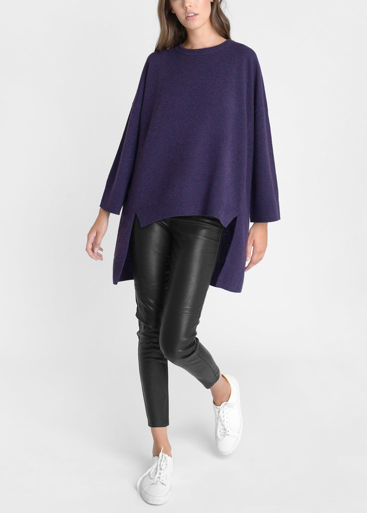 Merino Cape Sweater - Violet Fleck