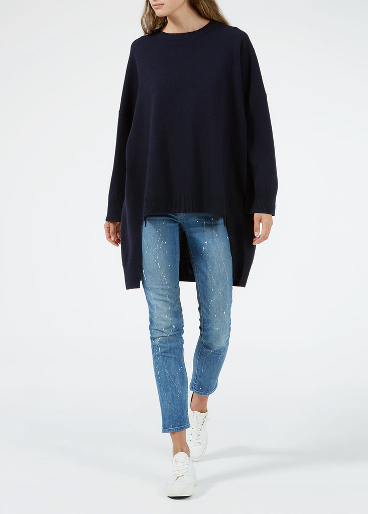 Merino Cape Sweater - Navy