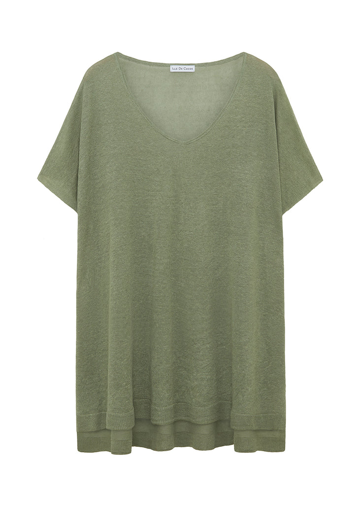 Linen Oversized Sweater - Sage