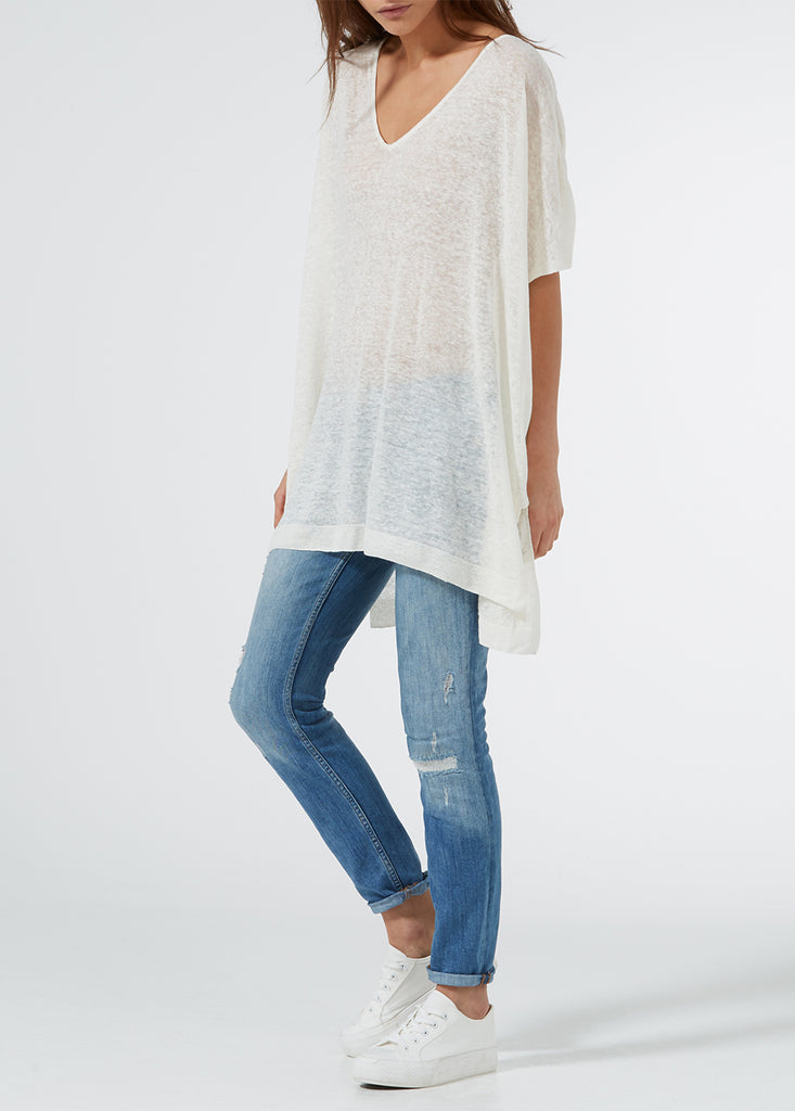 Linen Oversized Sweater - White