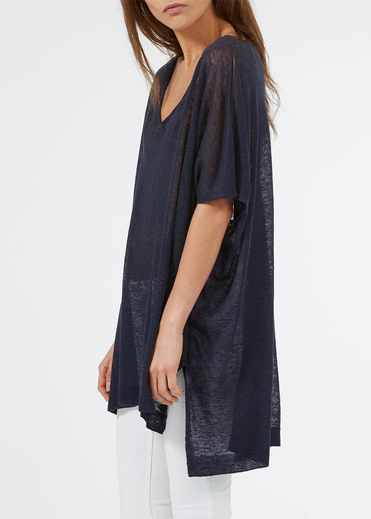 Linen Oversized Sweater - Navy
