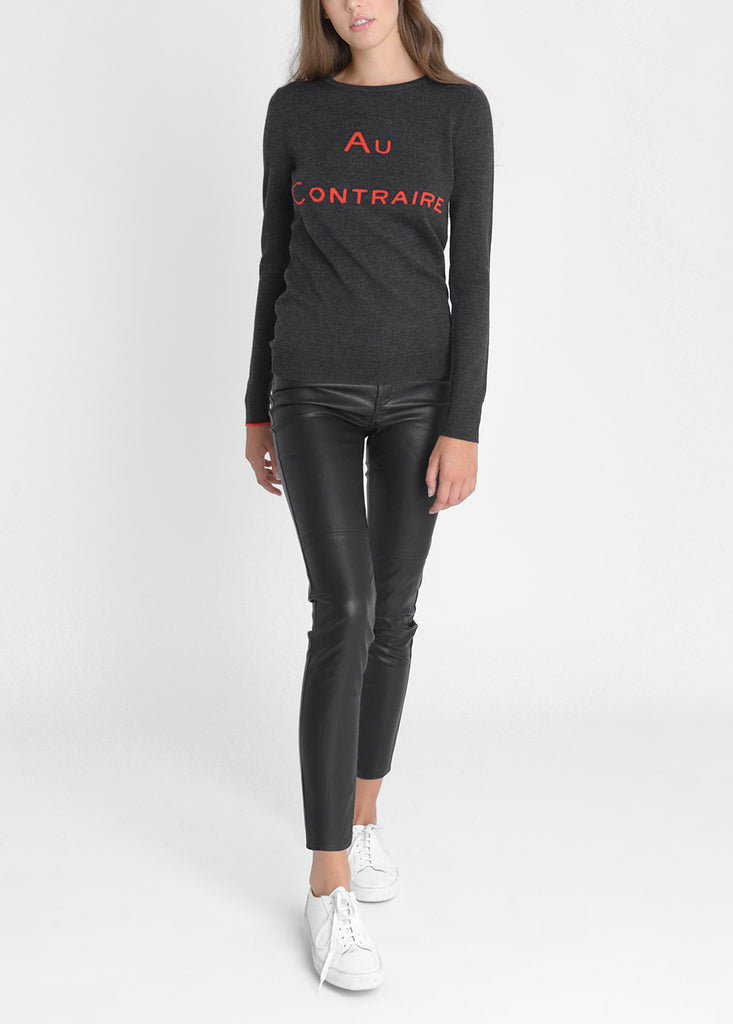 Au Contraire Merino Sweater - Dark Grey/ Red
