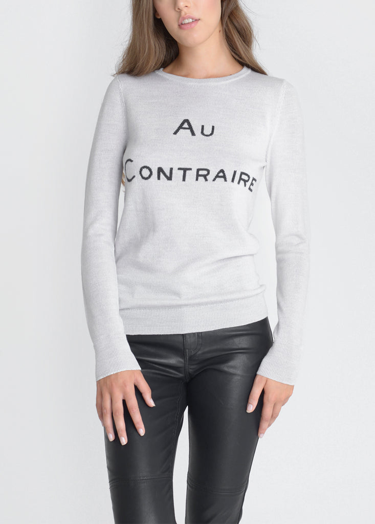 Au Contraire Merino Sweater - Pebble/ Dark Grey/ Silver