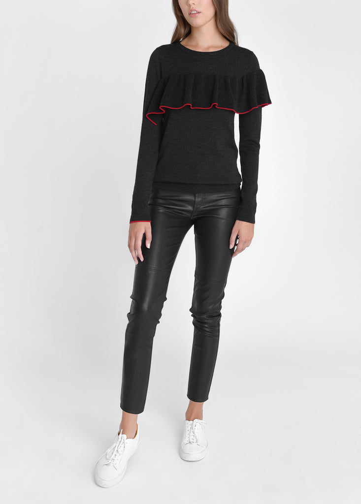 Merino Ruffle Trim Sweater - Black Marl/ Cherry