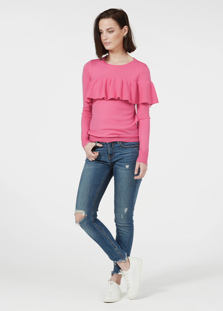 Merino Ruffle Sweater - Flamingo/ Gold