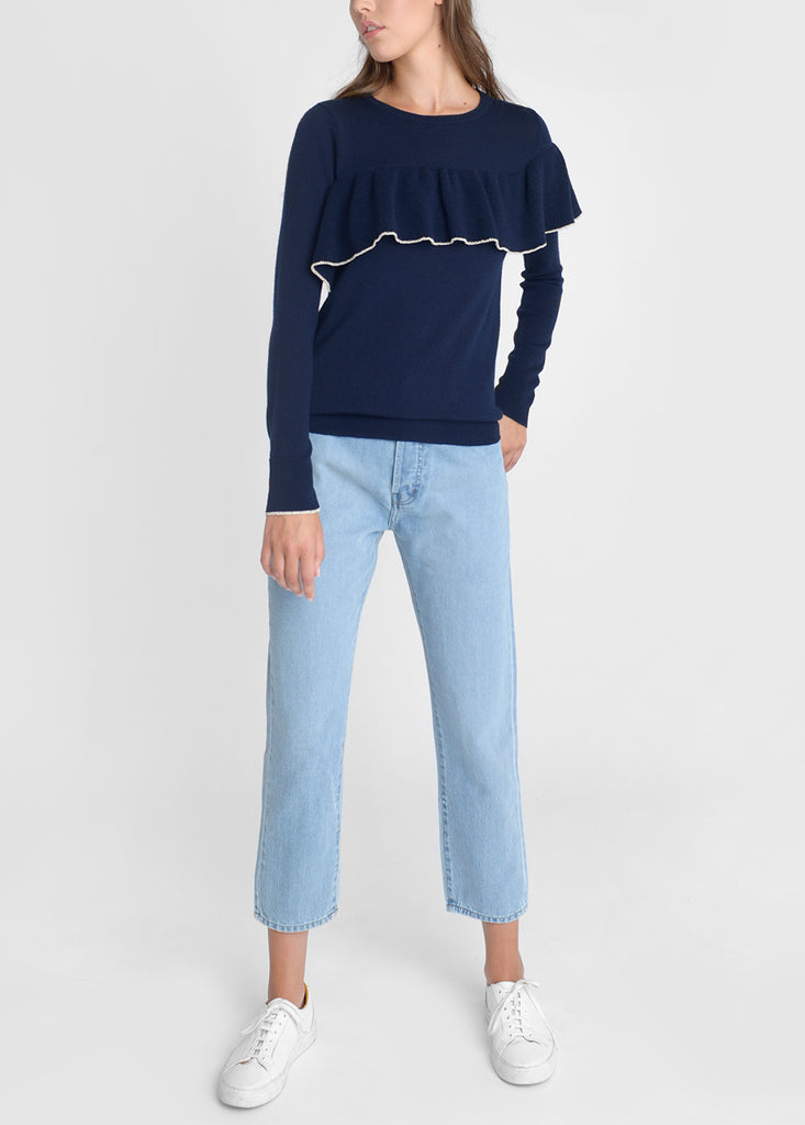 Merino Ruffle Trim Sweater - Navy/ Gold