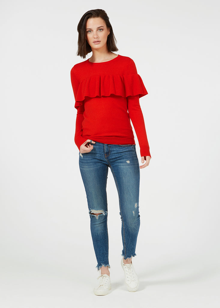 Merino Ruffle Sweater - Tomato Red/ Gold