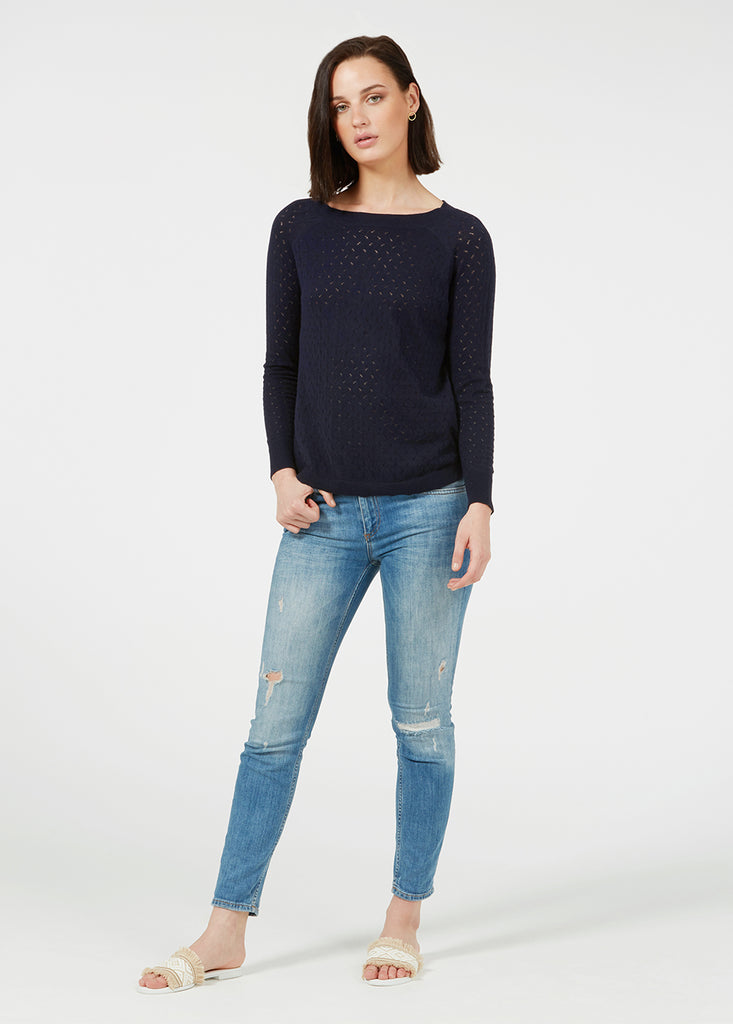 Fantasy Bow Sweater - Navy/ Black