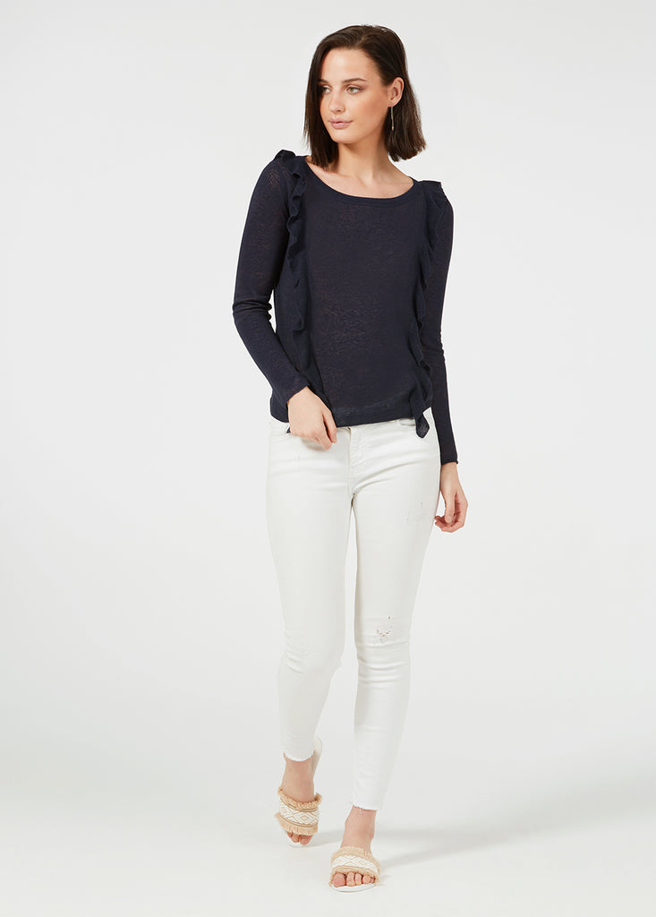 Linen Ruffle Sweater - Navy