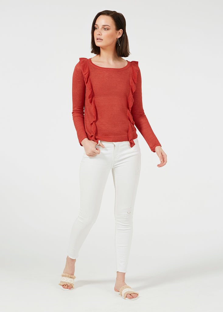 Linen Ruffle Sweater - Vintage Red