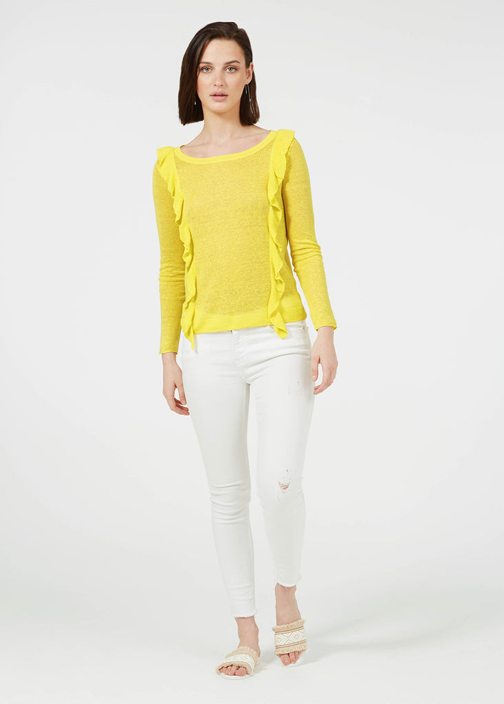 Linen Ruffle Sweater - Canary