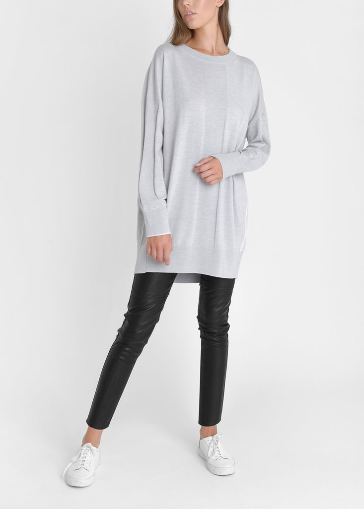 Merino Oversized Sweater Dress - Pebble Grey/ Cloud
