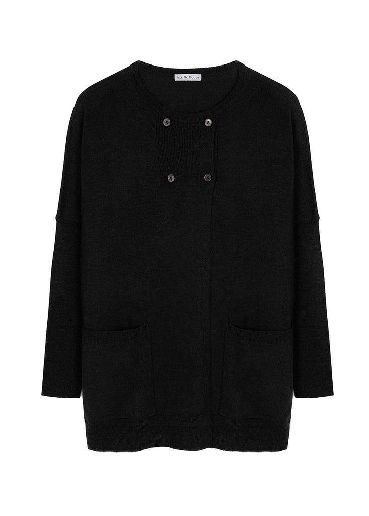 Button Pea Cardigan - Black Marl