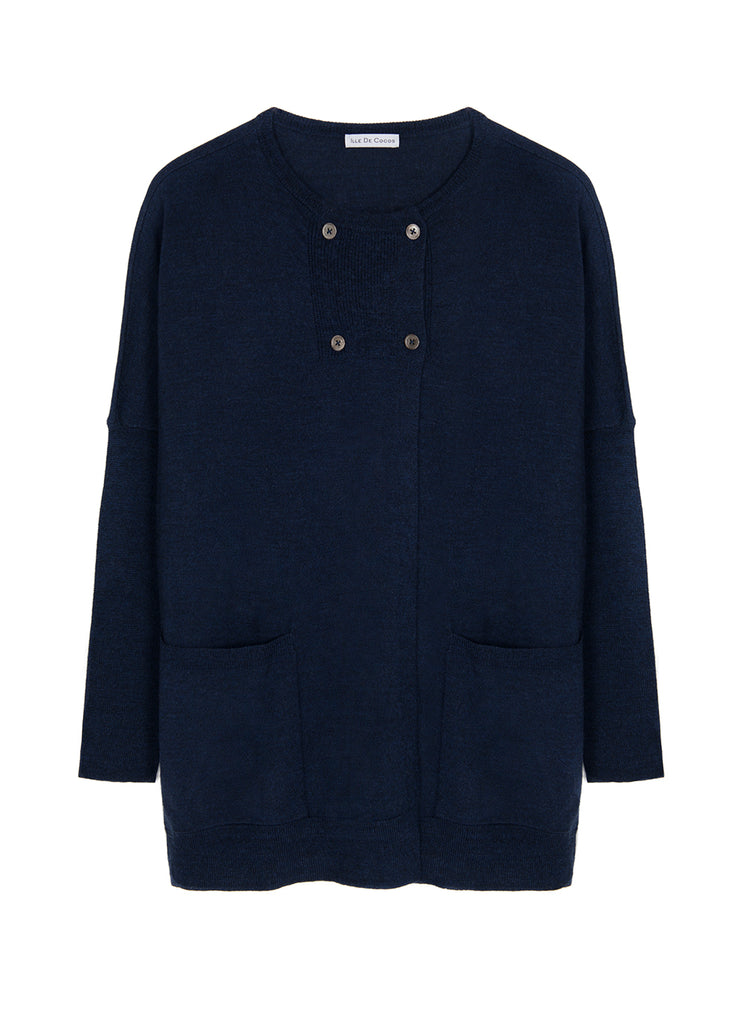 Button Pea Cardigan - Navy Marl