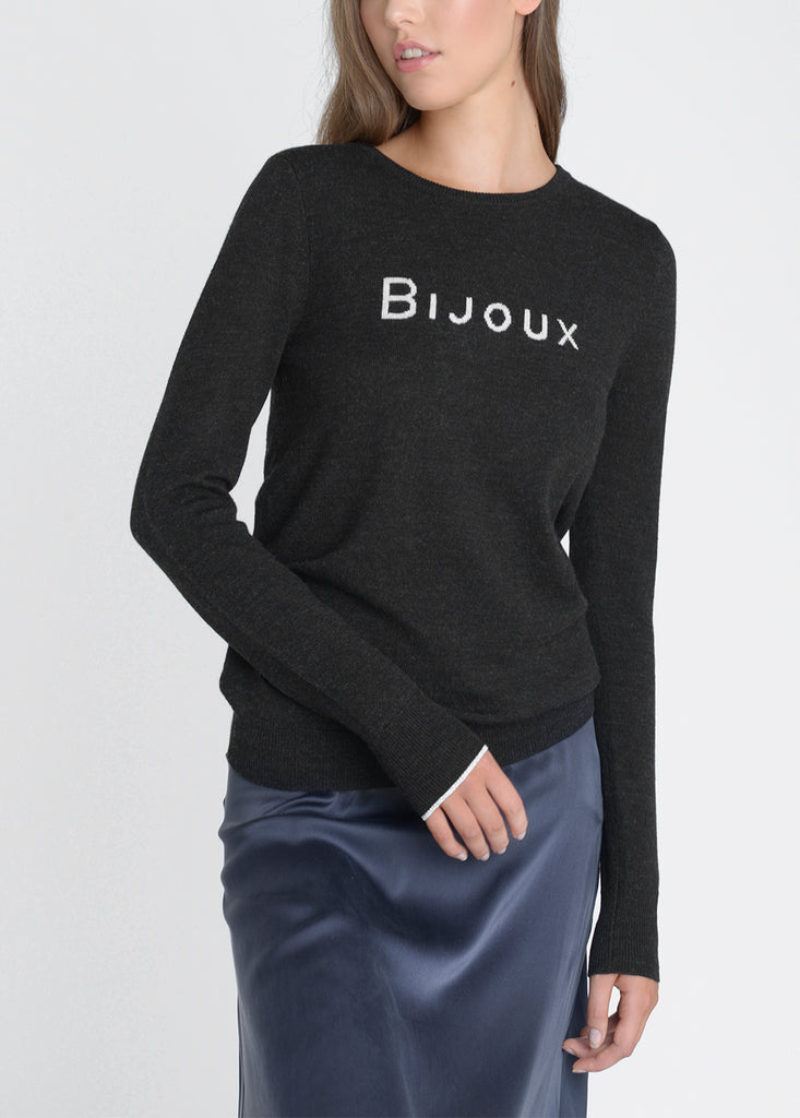 Bijoux Merino Sweater - Black Marl/ Pebble/ Silver