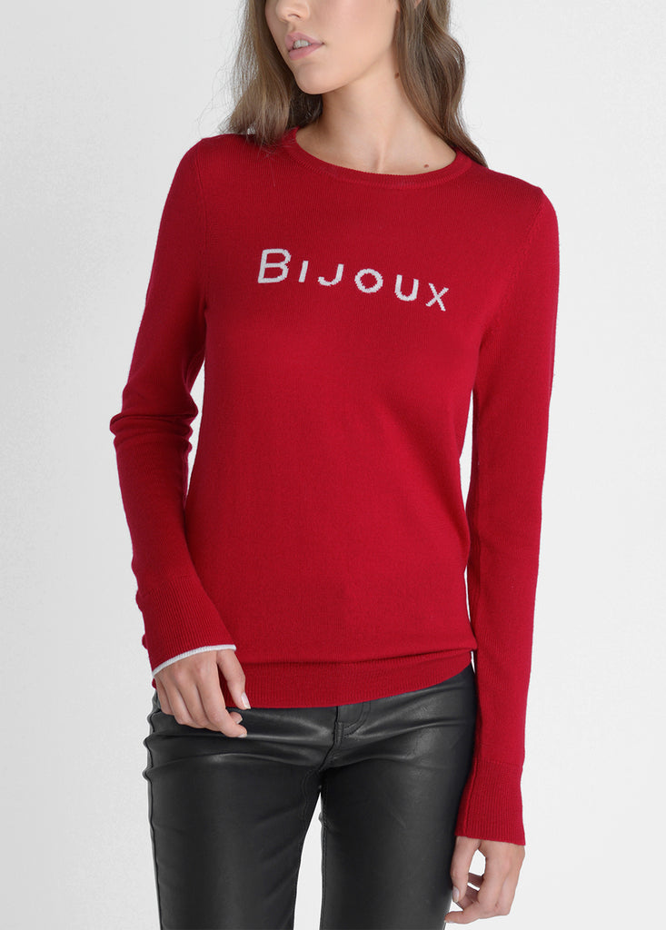 Bijoux Merino Sweater - Cherry Red/ Pebble Grey