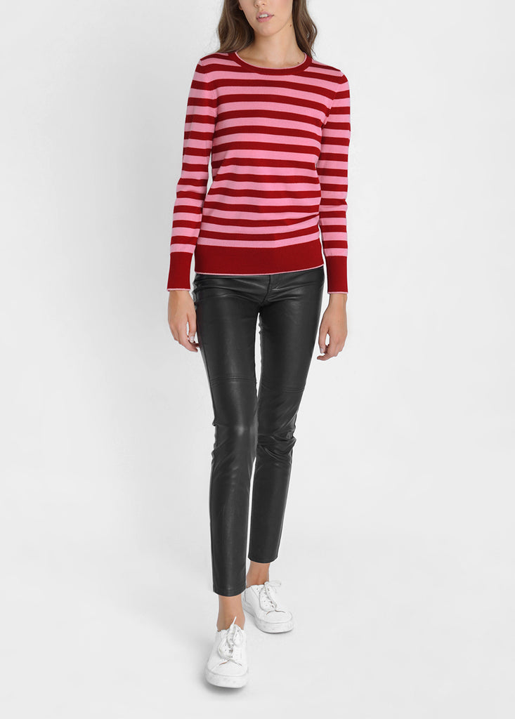 Merino Stripe Sweater - Cherry Red/ Flamingo