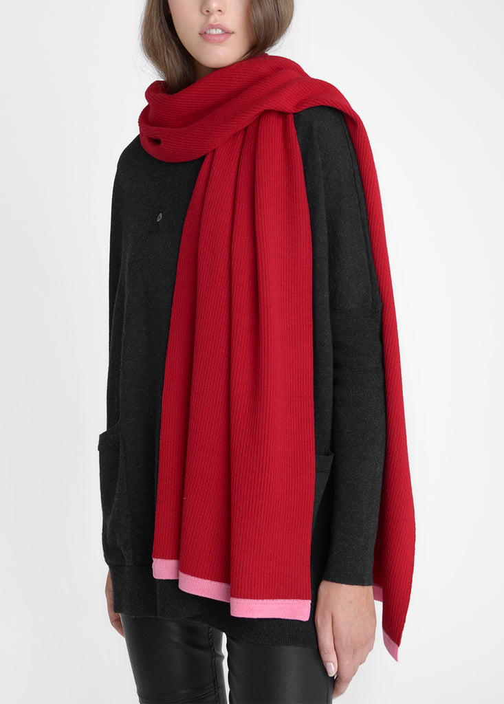 Merino Long Scarf - Cherry Red/ Flamingo