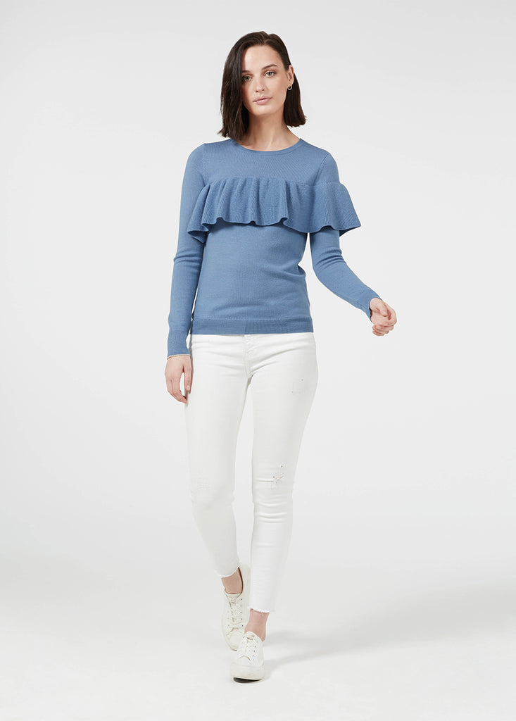 Merino Ruffle Sweater - Sky/ Gold