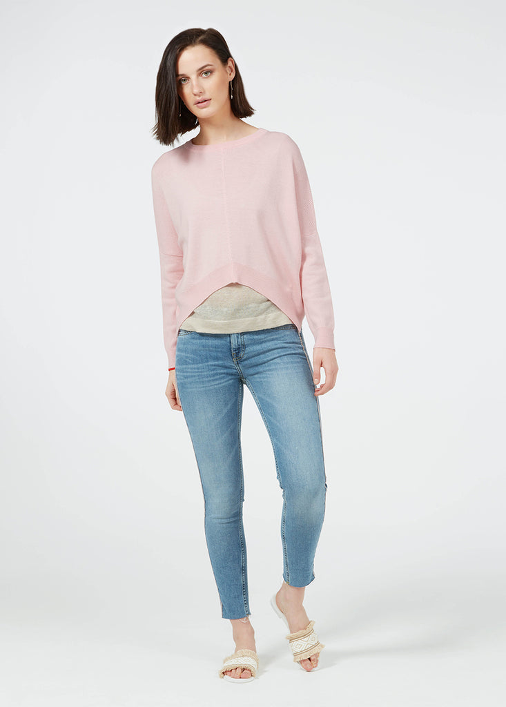 Merino Cropped Sweater - Rose/ Red