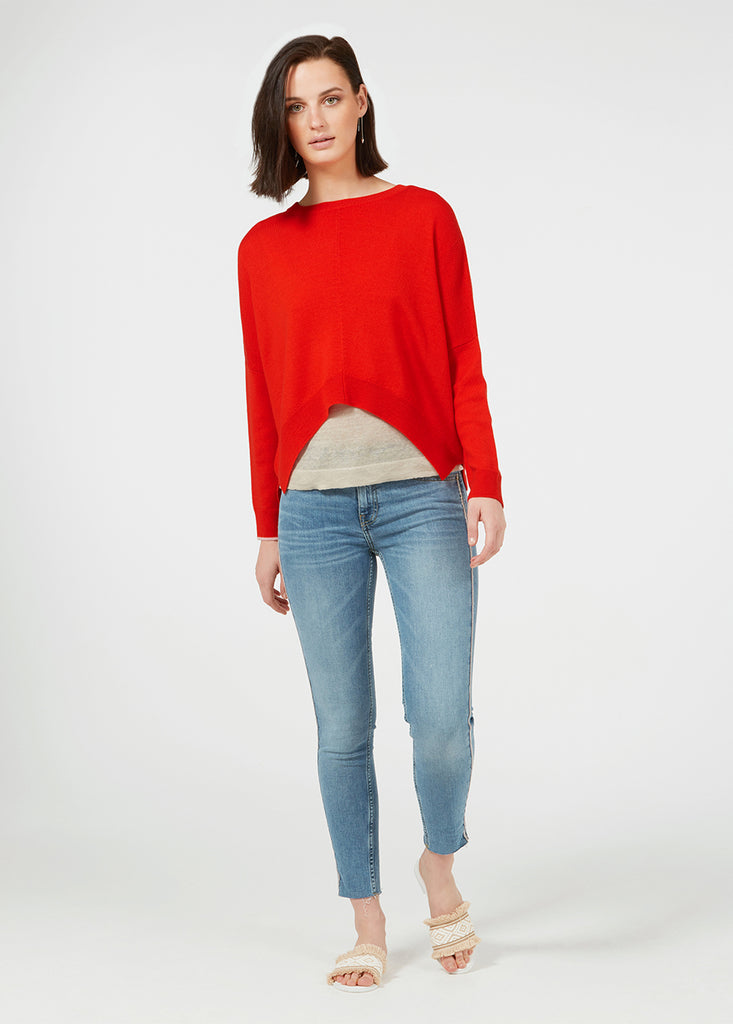 Merino Cropped Sweater - Red/ Rose