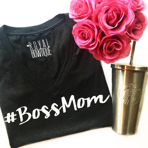 #BossMom Vintage Black Fitted V Neck