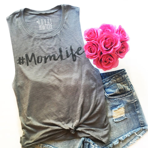 #MomLife Flowy Scoop Muscle Tank with Black Ink